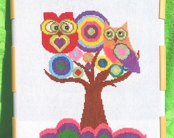 "Finished embroidery ""Owls on a tree"", Home decor, Gift, Finished cross stitch"