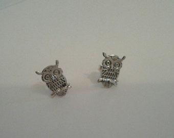 Sweet Owl Stud Earrings in Sterling Silver