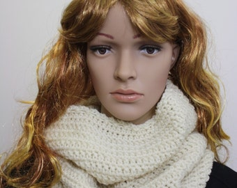 Infinity Scarf, Infinity Hooded Scarf, Crochet Scarf Cowl, Hood Scarf, Crochet Hood Scarf, Knit Cowl Color : Soft White