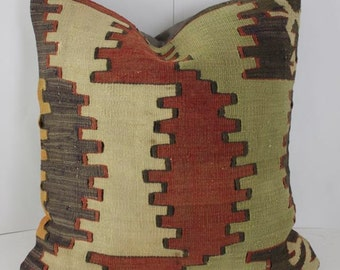 Decorative Kilim Pillow Cover 16X16 Kilim Pillows Red Beige Brown Pillow Throw Pillow Covers Couch Pillows Kilim Pillow Accent Pillow Covers