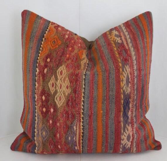 24x24 Kilim Floor Cushion Accent Pillow Rustic Pillows Throw