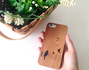 iPhone 6S case Singing Birds Real Wood Case for iPhone 6S case 6 Plus 5s 5 4s 4 case Samsung Galaxy s5 s4