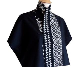Ethnic kimono shirt Jahyn black and off-white