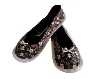 Travel Gwenny T38 printed flowers ballerina slipper