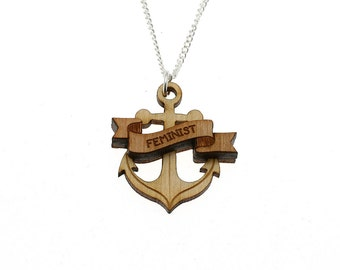 Feminist necklace // laser cut jewellery // anchor necklace