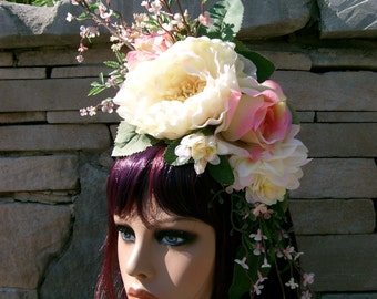 Sweet Sweet Spring Headdress Adornment Headband Soft White and Pink Floral Bridal Easter Spring