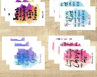 PRINTED Scripture postcards, Bible Verse - Splash Set - Set of 12