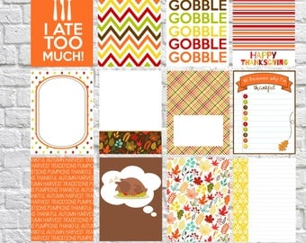 Thanksgiving Dinner Journaling Cards, Project Life Inspired Printable, Digital Scrapbooking, Pocket Scrapbooking, Planner Printable