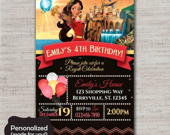 Elena of Avalor invite,Princess Elena Birthday invitation,JPG file,Birthday Invite,Elena of Avalor invitation,Elena,Princess Elena,DPP312