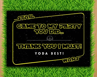 Star Wars Thank You Card  - INSTANT DOWNLOAD - Star Wars Thank You Note printable - Force Awakens Star Wars Birthday Party DIY