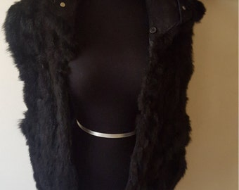 Vintage Black Sleeveless Faux Fur W/ Side Pockets