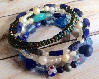 Aqua, Turquoise, Pearl, Cobalt Blue, and Rainbow Metallic Beaded Wrap Bracelet