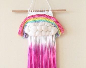 Mini hand dyed rainbow wall hanging