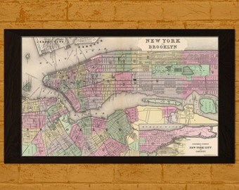 Printed on Washi Japanese PaperOld Map New York and Brooklyn 1880s Ancient Old Map Print Antique Map New York Poster Old  Decor Map
