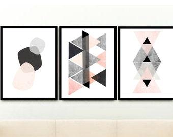 Set Of 3 Art Prints, Scandinavian Modern, Pink And Grey, Minimalist Poster, Abstract Art, Wall Decor, Giclee print, Wall Art, Poster