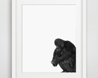 Gorilla Print, Nursery Art Decor, Animal Wall Art, Kids Printable, Art, Black and White Print, Safari Print, Nursery Printable, Kids Art