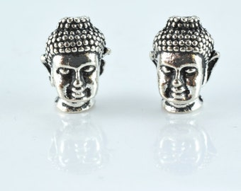 13x9mm Antique Silver Buddha Head Charm Beads,4pcs/PK, 2mm hole opening, 4mm thickness