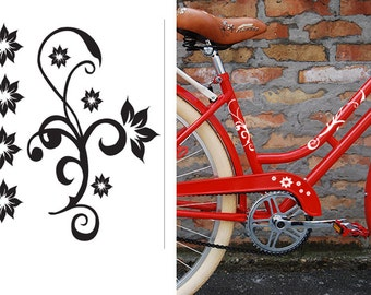 fun stickers flowers bicycle bike decals
