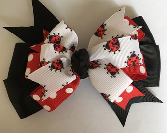 Lady Bug Hair Bow Red and Black Red Polka Dot Hair Bow Red and Black Lady Bug Bow Red Polka Dot and Black Bow with Lady Bugs
