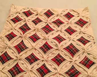 Tartan cathedral windows cushion
