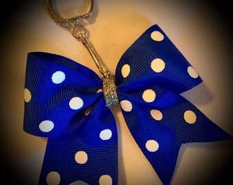 Polka Dot BOW Keyring w/Chain