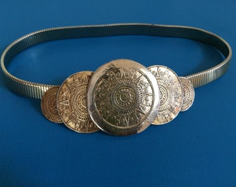 Ancient Mayan Gold Coins Themed Belt / Gold Tone Painted Belt / Vintage Belt / Thin Stretch Belt Size Small