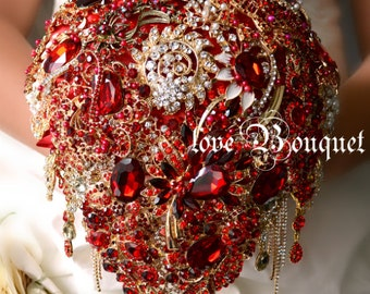 Red gold wedding bouquet Alternative bouquet Wedding bouquet Bridal bouquet Brooch bouquet Bling bouquet Keepsake bouquet Unique bouquet