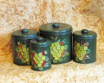 Hand Painted Canister Set, Farmhouse, Vintage Kitchen