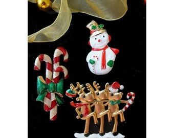Christmas Pins * Dancing Reindeer * Candy Canes * Snowman * Lot Of Three Pins....Cute
