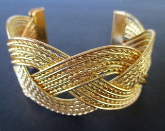 Filigree Cuff Bracelet * Gold Tone * Classic Vintage * Gift for Her