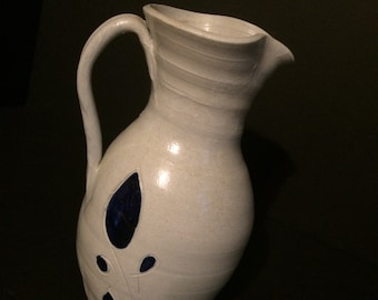 Williamsburg Pottery Pitcher Off-White with Blue Accents