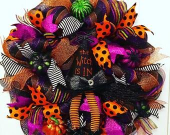Halloween Mesh Wreath, Classy Halloween Wreath, Deco Mesh Halloween Wreath, Witch Wreath, Halloween Witch Wreath