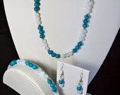 Ocean Waters Set: Aqua and White Beaded Necklace, Bracelet, and Earrings