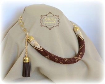"Beaded crochet necklace ""LOUIS VUITTON"" - brown, beige, gold - Choker necklace - Bead crochet rope - Beadwork necklace - office style"