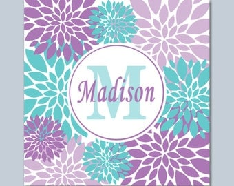 Purple Teal Wall Art, Lavender Teal Floral Wall Art, Lavender Teal Bedroom Decor,Monogram Wall Art, Floral Purple Wall Art- 12x12 UNFRAMED