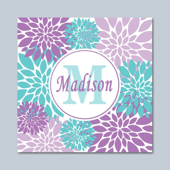 Teal Flower Wall Decor : Purple teal wall art lavender floral