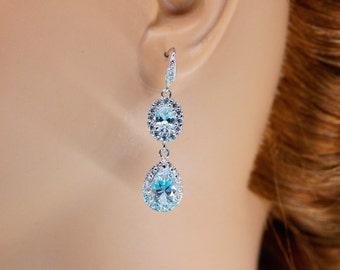 Nora Earrings, Wedding Earrings, Bridesmaid Earrings, Wedding Jewelry, Dangle Wedding Earrings, Bridal Earrings, Cubic Zirconia Earrings