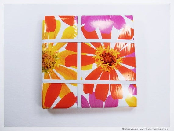 Kitchen board with Flowers Board 20 x 20 cm flower in yellow and red picture frame single piece-Unique kitchen pinboard