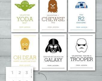 Star Wars Valentines  |  Yoda, Darth Vader, R2D2, Chewbacca, Storm Trooper, C3P0 Valentine Cards