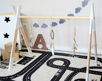 Wooden Baby Gym with Gym Toys - White * Dream Catcher - Play Gym - Activity Gym