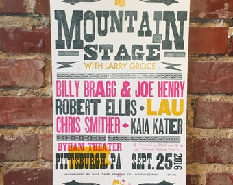9/25/16 Mountain Stage Letterpress Poster