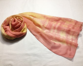 Natural dyed scarf (Tencel) - pink&yellow