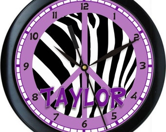 "Purple and Black Peace Zebra 10"" Wall Clock Personalized Girls Room Decor Gift"
