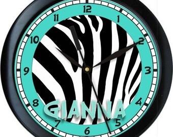 "Blue Aqua and Black  Zebra 10"" Wall Clock Personalized Girls Room Decor Gift"