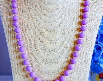 1950 vintage bead necklace, lilac necklace, bead necklace