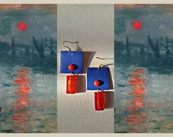 Monet earrings with Murano glass pendant. Unique model/Monet earrings with murano glass pendant. Unique pattern