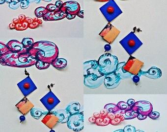 Kite flying Kite earrings earrings unique single template/pattern