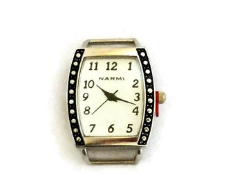 White Watch Face / Rectangular Watch Face / Narmi Watch Face / Silver and Black Watch Face