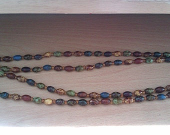 agate bead long necklace