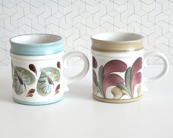 2 vintage hand painted Denby mugs 70s